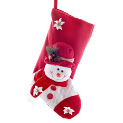 Small Image of Large 50cm Plush Fabric Christmas Snowman Stocking