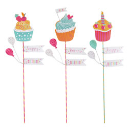 Small Image of Set of Three 'Happy Birthday' Pop Art Cupcake Stick Decorations