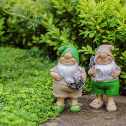 Small Image of Connor & Caleb the Summertime Garden Gnome Ornaments in Flip-flops