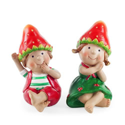 Small Image of John & Jen the Sitting Strawberry Twins Garden Ornaments