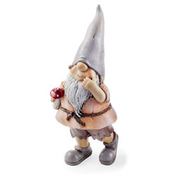 Small Image of Moss the Garden Loving Gnome Ornament with Mushroom