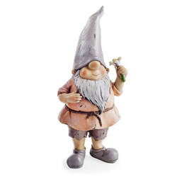 Small Image of Oak the Garden Loving Gnome Ornament with Flower