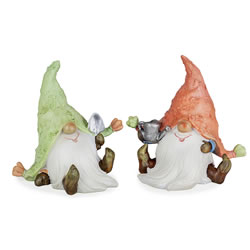 Small Image of Heath & Logan the Fun Gardening Gnome Resin Ornament Set