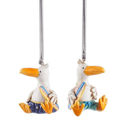 Small Image of Albie & Ross the Surfer Albatross Ornament Set on Springs