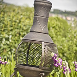Small Image of Bronze Mesh Cast Iron Chiminea Chimenea 90cm High