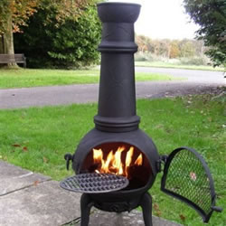 Small Image of Large 120cm Black Cast Iron/steel Mix Chiminea w. Swing Out Grill Bbq