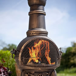 Small Image of Bronze 85cm Cast Iron/steel Chimnea Patio Heater/cooking Bbq Grill Fire Chiminea