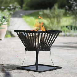Small Image of La Hacienda Morden Black Steel Firebasket