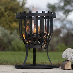 Small Image of La Hacienda Alberta Black Steel Firebasket