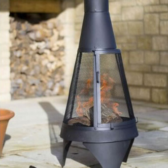 Small Image of La Hacienda Extra Large Mesh Colorado Black Steel Chiminea Patio Heater