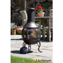 Small Image of La Hacienda Leon Medium Mesh Bronze effect Chimenea Chiminea Patio Heater