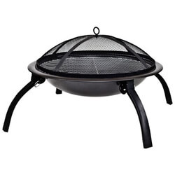 Small Image of La Hacienda 58106 Camping Firebowl with Grill/ Folding Legs and Carry Bag - Black