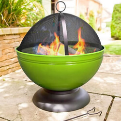 Small Image of La Hacienda Lime Green Globe Enamelled Firepit & Grill Patio Heater Wood Burner