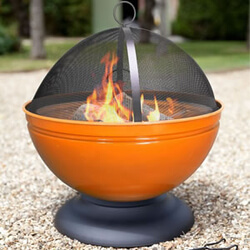Small Image of La Hacienda Orange Globe Enamelled Firepit & Grill Patio Heater Wood Burner