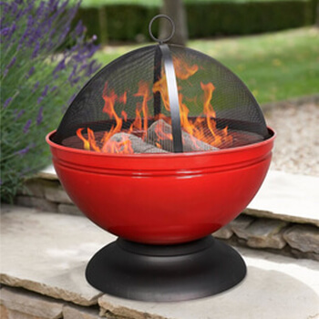 Small Image of La Hacienda Red Globe Enamelled Firepit & Grill Patio Heater