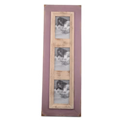 Small Image of Wall Mountable Distressed Lilac Wood Triple Portrait Photo Frame
