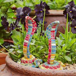 Small Image of Pair of Bright Mosaic Resin Cobra Snake Garden Ornaments