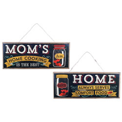 Small Image of 'Mom's Home Cooking' Hanging Wooden Vintage Sign Pair Home Decor