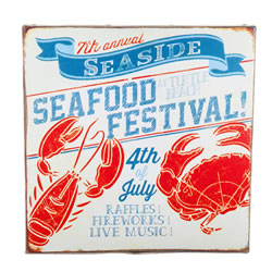 Small Image of 'San Fran' Nautical 'Seafood Festival' Canvas Print Wall Art for the Home