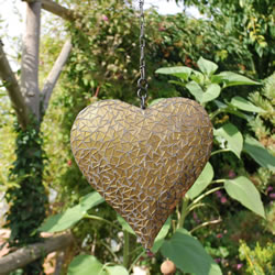 Small Image of Large Hanging Gold Mosaic Heart Ornament for Home or Garden
