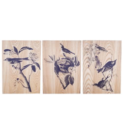 Small Image of 'Bird Life' Decorative Wooden Home Wall Art Trio