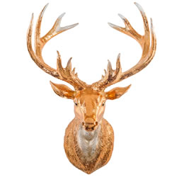 Small Image of Antique Copper Wall Mountable 34cm Stag's Head Sculpture for the Home