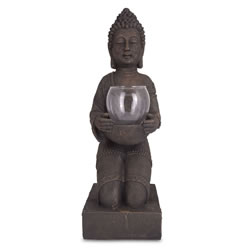 Small Image of Large Detailed Stone Look Resin Buddha Tea Light Holder for Home or Garden