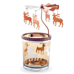 Small Image of Copper Metal & Glass Carousel Christmas Tea Light Holder with Reindeer