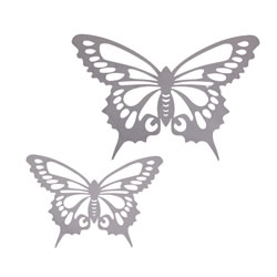 Small Image of Small and Large Reflective Finish Steel Butterfly Wall Art Feature Ornaments