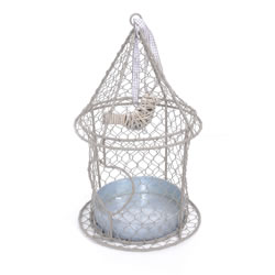 Small Image of Hanging Rustic Metal Bird Feeder with Heart & Wicker Bird Detail