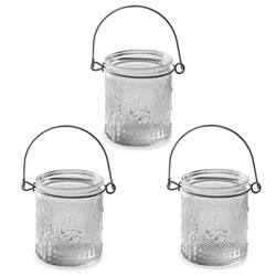 Small Image of 'Louis' Fleur-de-Lys Glass Tealight Votive Holder Trio Set