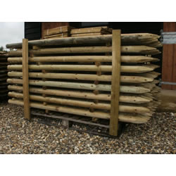 Small Image of 10 X 1.65m (5ft 6') tall x 60mm Round Wooden Pressure Treated Fence Posts wood