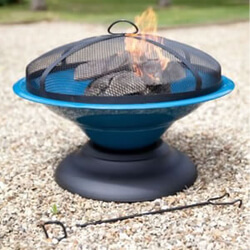 Small Image of La Hacienda Blue Moda Enamelled Firepit Patio Heater Wood Burner