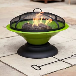 Small Image of La Hacienda Lime Green Moda Enamelled Firepit Patio Heater Wood Burner