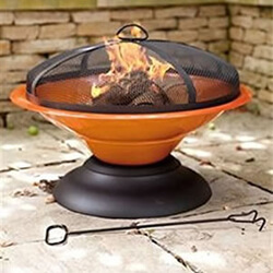 Small Image of La Hacienda Orange Moda Enamelled Firepit Patio Heater Wood Burner