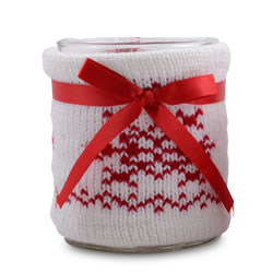 Small Image of Large White Knitted Christmas Pattern Covered Glass Tealight Holder