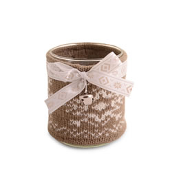 Small Image of Large Glass Christmas Tealight Holder with Brown Knitted Cosy