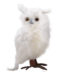 Small Image of Large Right Facing White Fluffy Feathered Owl Christmas Ornament
