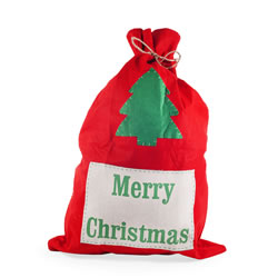 Small Image of Large Red Felt Christmas Sack with 'Merry Christmas' Design