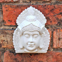 Small Image of White Ceramic Ornamental Buddha Head Wall Art