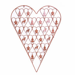 Small Image of Large Rusty Brown Coloured Metal Heart Advent Calendar