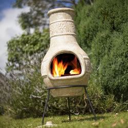 Small Image of La Hacienda Straw Colour Chiminea with Star Flower Design Patio Heater