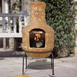 Small Image of Clay Sunset Pizza Chiminea Chimenea With Bbq Grill Patio Heater Wood Burner