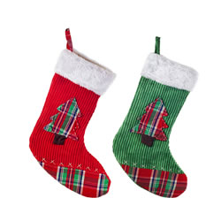 Small Image of Set of Two Red & Green Fabric Christmas Stockings