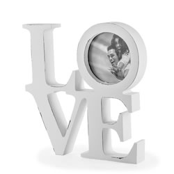 Small Image of White Wooden Rustic Finish 'LOVE' Photo Frame