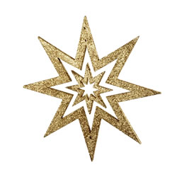 Small Image of Gold Glitter Star Hanging Christmas Decoration