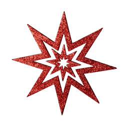 Small Image of Red Glitter Star Hanging Christmas Decoration
