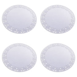 Small Image of Set of 4 35cm White Felt Snowflake Christmas Placemats