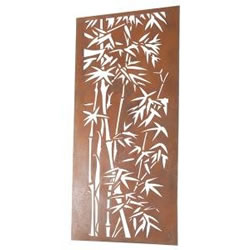 Small Image of Wonderful Rustic Steel Garden Metal Bamboo design Screen 1.8m tall - ideal for a screen fence or wall mounting and climbing plants!