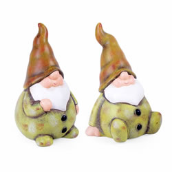 Small Image of Set of Two Terracotta Garden Gnomes in Green Finish